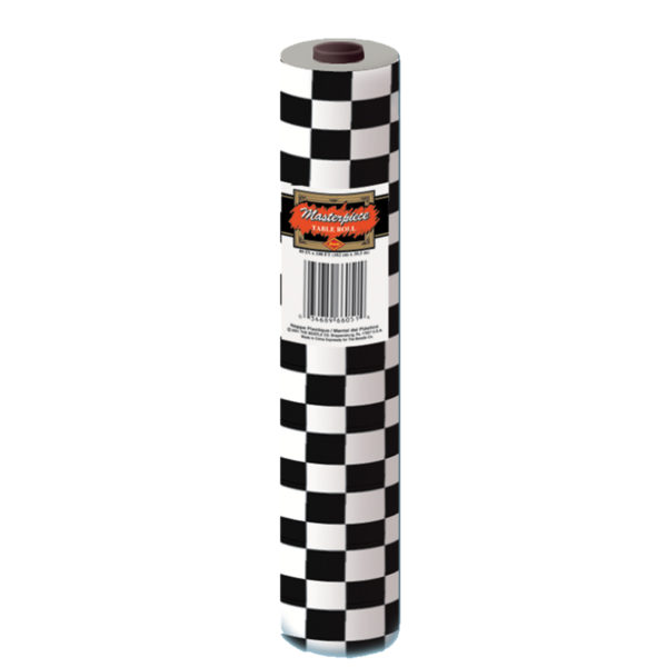 Black & White Checked Banqueting Plastic Table Roll