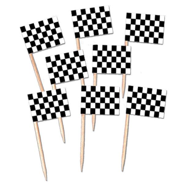 Racing Car Black & White Checked Mini Food Picks