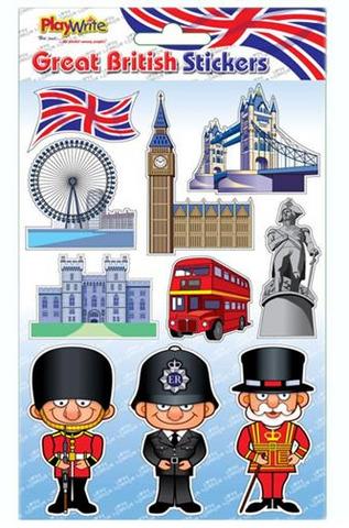 Sheet of Union Jack & London Themed Novelty Stickers