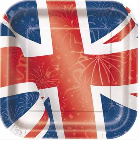 Union Jack Flag Printed Party Square Paper Plates